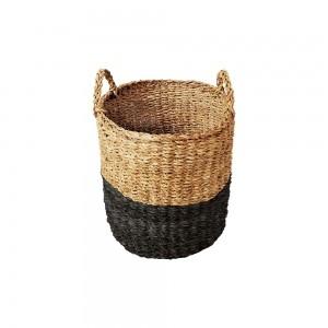 Cesto Seagrass Redondo c/Alça Balki Black 35 Tyft - Yoi