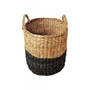 Cesto Seagrass Redondo c/Alça Balki Black 40 Tyft - Yoi