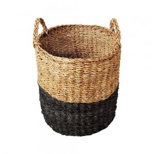 Cesto Seagrass Redondo c/Alça Balki Black 45 Tyft - Yoi