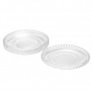 Cj 4 Pratos de Cristal de Chumbo Pearl Bolinhas 20cm -Rojemac
