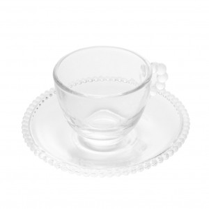 Cj 4 Xícaras Café com Pires Cristal de Chumbo Pearl 80ml - Wolff