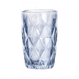 Cj 6 Copos Alto 350ml de vidro Azul Metalizado Diamond - Lyor