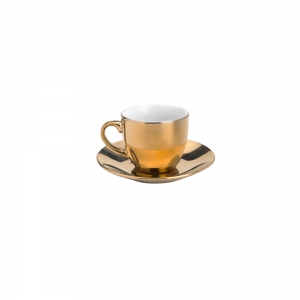 Cj 6 Xícaras Café 90ml c/Pires e Suporte Luminus Dourada - Lyor