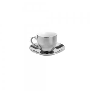 Cj 6 Xícaras Café 90ml c/Pires e Suporte Luminus Prateado - Lyor