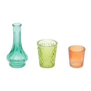 Conjunto 3 Castiçais De Vidro E Bandeja Madeira 20Cm Round Cute Glass Colorido Pequeno - Urban