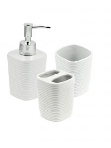 Conjunto 3 Peças Para Banheiro Em Cerâmica Branco - Rojemac