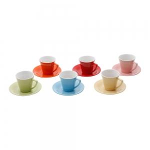 Conjunto 6 Xícaras e Pires Coloridas 90ml - Bon Gourmet