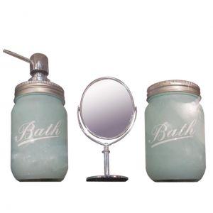 Conjunto Banheiro 3 Peças Vidro/Metal C/ Espelho Clean Color Verde 28,5X9X21,5Cm - Urban