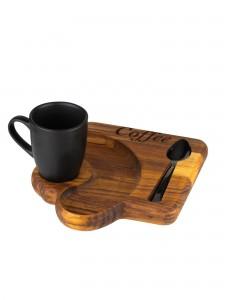 Conjunto com Xícara de Café e Colher com Bandeja Madeira