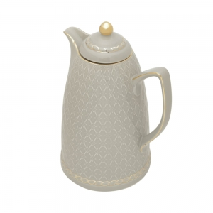 Garrafa Térmica de Porcelana 900ml Renda Cinza - Wolff