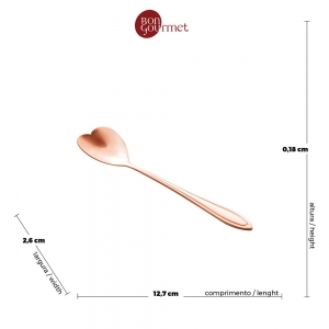 Kit 4 Colheres p/Chá Heart Rose - Rojemac