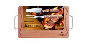 KIT CHURRASCO C/ GARFO E FACA 39X25 CM - STOLF