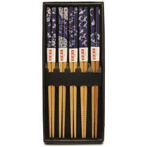 Kit Hashi 5 Pares Bambu Blue Dreans - Kyoto