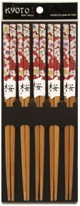 Kit Hashi 5 Pares Bambu Red Floral - Kyoto