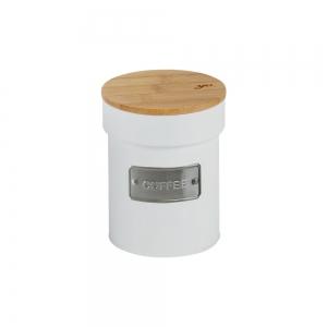 Kit Lata de Metal c/ Tampa Bambu Branco Matte 3pç - Yoi