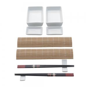 Kit p/ Sushi de Bambu c/ Molheiras 10pçs Kyoto - Lyor