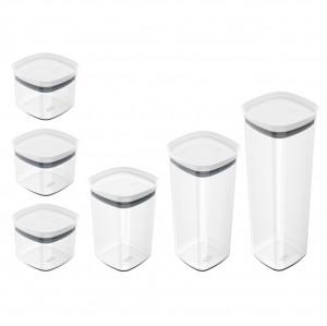 Kit Potes com Tampa Hermética Quadrado Block 6pçs Branco - Ou