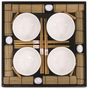 KIT SUSHI / SASHIMI ORIENTAL KYOTO 16 PEÇAS EM BAMBU E PORCELANA - YOI 8108010015