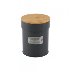 Lata de Metal c/ Tampa Bambu Coffee Chumbo Matte - Yoi