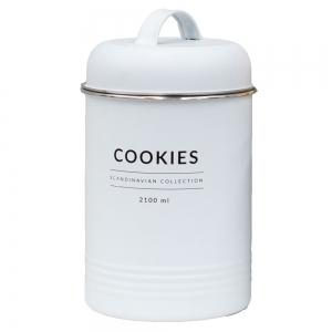 Lata de Metal c/ Tampa Cookies Branco Copenhag - Yoi