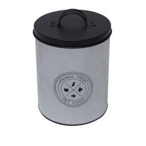 Lata Metal Round Animal Care Prata E Preto - Urban