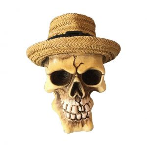 Mini Caveira Resina Panama Hat Bege 8 X 7,5 X 9 Cm - Urban