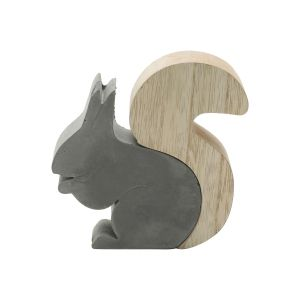 ESQUILO DECORATIVO MADEIRA/CONCRETO TAIL SQUIRREL CINZA 12X2,5X11 CM - URBAN 42622