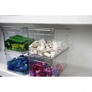 Organizador Clear com tampa 30x15x13cm Natural - Ou