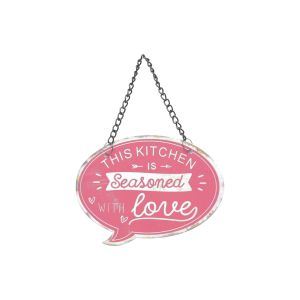 Placa Metal Recortada Quotes Seasoned With Love Vermelho 11,5X8,5Cm - Urban