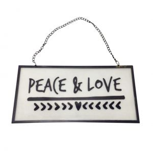 PLACA VIDRO/METAL PEACE AND LOVE PRETA 20 X 10 X 0,5 CM - URBAN 40239