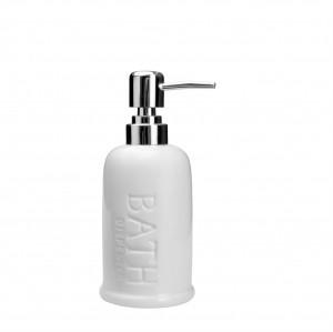 Porta Sabonete Líquido Cerâmica Bath 350ml Branco - Rojemac