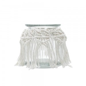 Pote / Vaso de Vidro Sodo Calcico em Macramê 12cm-Urban