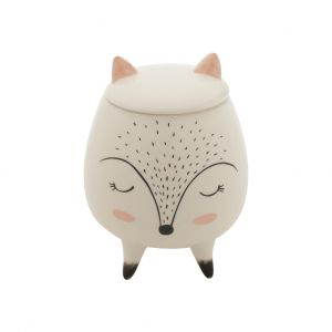 Potiche Decorativo Cerâmica Sleeping Fox Branco 10,4X10,4X14 Cm - Urban