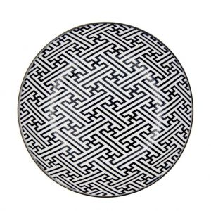 PRATO PORCELANA DECOR GEEK KEY PRETO E BRANCO - 20,4X20,4X4,9 CM - URBAN 42478