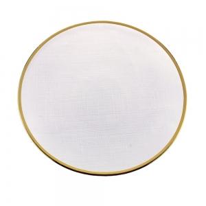 Prato de Sobremesa Cristal c/ Borda Dourada Linen 21cm - Wolff