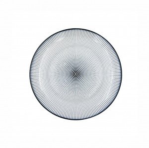 Prato Porcelana Decor Dot Angles Preto e Branco 19,5cm - Urban