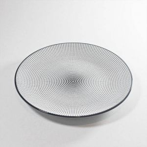 PRATO PORCELANA DECOR DOT ANGLES PRETO E BRANCO 19,5X19,5X2,3 CM - URBAN 42468