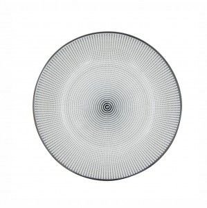 Prato Porcelana Decor Dot Angles Preto e Branco 20,4cm - Urban