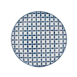 Prato Porcelana Decor Geometric Star Azul/Branco 19,5X19,5X2,3 Cm - Urban