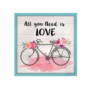 QUADRO MADEIRA PETIT ALL YOU NEED IS LOVE AZUL 15 X 3 X 15 CM - URBAN 40283