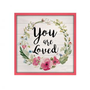 QUADRO MADEIRA PETIT YOU ARE LOVED ROSA 15 X 3 X 15 CM - URBAN 40282