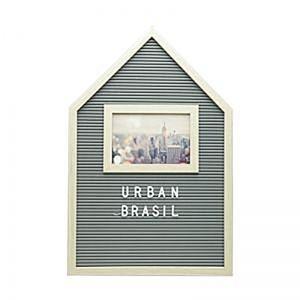 Quadro Madeira/Plástico Alfabeto E Porta Retrato Cinza 30X2X45Cm - Urban
