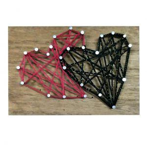 Quadro Madeira String Art Dois Coracoes Preto/Vermelho 14X0.9X9.5Cm - Urban