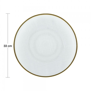 Sousplat Cristal c/ Borda Dourada Linen 33cm - Wolff