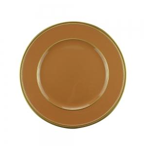Sousplat Plástico Laranja/Dourado 33cm - Rojemac