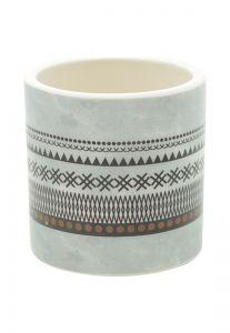 Vaso Cerâmica Aztec Hut Cinza/Preto Peq 7X7Cm   - Urban