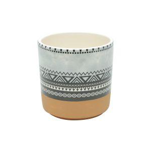 Vaso Cerâmica Aztec Triangles Colorido Gde 14X14Cm  - Urban