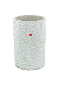 Vaso Concreto Long Embossed Little Heart Cinza 14X14X21,5Cm - Urban