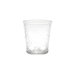 Vaso de Vidro Cross Lines Basic Transparente 15cm-Urban