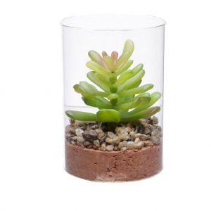 Vaso Vidro Com Planta Artificial Life Suculent - Urban